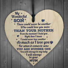 My Wonderful Son Wooden Heart Mum Son Special Friends Thank You Birthday Gifts