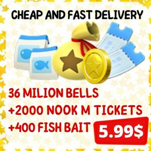 2000 NOOK MILES TICKETS+36 MILLION BELLS+400 FISHBAITS ONLINE Animal :; Crossing