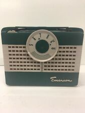 1950s EMERSON HISTORICAL MID CENTURY MINIATURE TUBE ANTIQUE VINTAGE GREEN RADIO