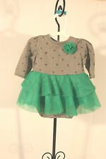 Body Suit Cherokee Infant SZ 3M NEW Gray and Green With Ruffles