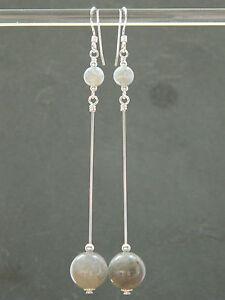 Grey Labradorite Gemstones & 925 Sterling Silver Long Elegant Handmade Earrings