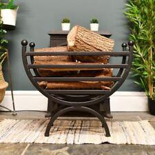 Matte Black Renaissance Style Curved Fire Basket or Log Holder