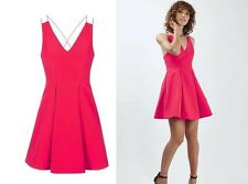 TOPSHOP RED DOUBLE STRAPPY BONDED PROM DRESS BLOG FAV. PARTY /GOINGOUT  6 TO 12