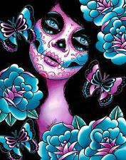 Memento Sugar Skull by Carissa Rose Canvas Giclee Day of the Dead Tattoo Flash