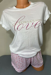 NWT Victorias Secret Graphic Pajama Sleep Set T-Shirt & Shorts Size Small