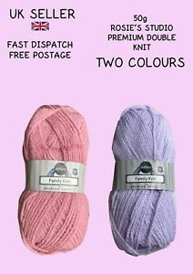 Rosie's Family Knit DK Double Knit 50g *NEW* 2 colours. Pink. Lilac FREE POSTAGE