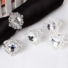 12PCS Silver Diamond Napkin Ring Serviette Holder Wedding Banquet Dinner Party