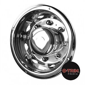 """1 pair 19.5"""" Iveco deluxe rear wheel trims hub caps covers stainless O-Trim"""