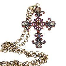 Vintage Rhinestone Cross Filigree Antique Gold Large Pendant Necklace