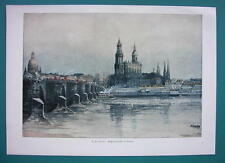 GERMANY Dresden Augustus Bridge - COLOR VICTORIAN Era Print