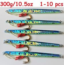 1-10 pcs 300g /10.5oz Blue Vertical Speed Butterfly Jigs Saltwater Fish Lures