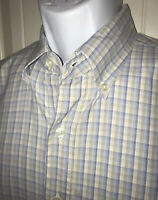 STETSON Button Up Shirt Sz LARGE Blue White Khaki Plaid Western Dress S/S EUC