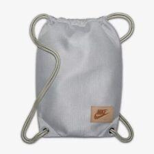 Stylish Nike Grey Thick Drawstring Leather Logo Bag Gym Sports Shoes PE New