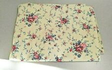 Almost 2 Yards Off White Denim Like Fabric With Flower Bunches In Pinks 44 Wide