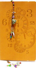 Yellow Embossed Clock Dial Leatherlike  Journal & Handmade Bookmark NEW