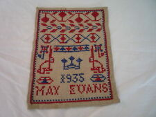 SMALL PATRIOTIC SAMPLER DATED 1935 JUBILEE RABBITS MAY EVANS