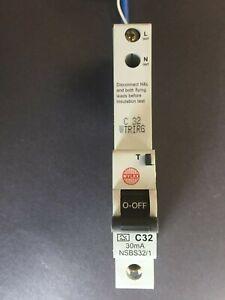 Wylex NSBS32/1 C32 32A 30mA RCBO