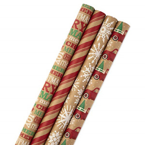 Hallmark Christmas Wrapping Paper Bundle with Cut Lines on Reverse, Kraft Pack
