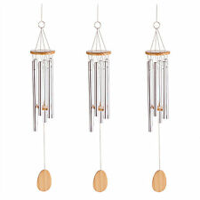 WINDCHIMES: Set of 3 Classic Wood & Aluminum Simple and Elegant Wind Chimes NEW