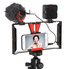 Smartphone Video Rig Camera Cage Handle+ 49 LED Light+BOYA BY-MM1 Microphone Kit