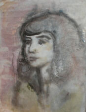 Vintage impressionist girl portrait watercolor painting FREE SHIPPING