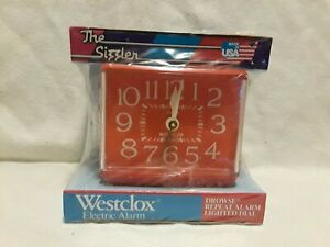 NOS Vintage Westclox The Sizzler Dialite Electric Alarm Clock Bright Red