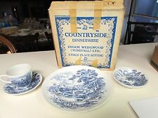 VTG WEDGWOOD COUNTRYSIDE TUNSTALL BLUE ENGLISH DINNERWARE PLATE BOWL CUP SAUCER