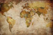 Weltkarte Fototapete - Vintage Retro Motiv - XXL Weltkarten Wandbild - Wanddeko