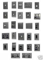 Brushed Chrome Screwless Flat Plate Light Switch Socket USB Data Phone Shaver