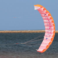 Outdoor Toys Dual Line Parafoil Parachute Stunt Sport Beach Orange Kite NEW