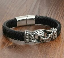 Mens Nordic Totem Real Leather Bracelet ~ 21cm ~ 8 1/4 inch ~ Magnetic Clasp