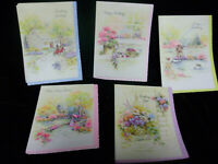 VINTAGE NOS BOX 16 OCCASION PARCHMENT CLASSIC CARDS WITH GLITTER SPARKLE