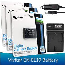 3 pcs. Vivitar EN-EL19 Battery + Charger for Nikon Coolpix S33 S2900 S3700 S700