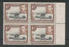 KUT SG145 THE 1938 GVI 1/- BLACK & BROWN IN FRESH MNH MARGINAL BLOCK OF 4 C£152+