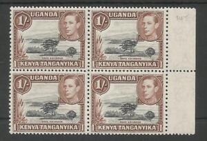 KUT SG145 THE 1938 GVI 1/- BLACK & BROWN IN FRESH MNH MARGINAL BLOCK OF 4 C£152+