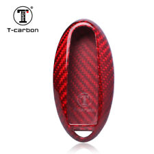 Red Carbon Fiber Keyless Fob Smart Key Case Cover For Nissan GTR 370Z Murano