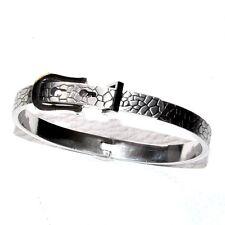 Bracelet jonc original plaqué argent ceinture boucle gris réglable bijou A1