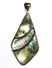 P1885L2 Abalone Shell 53mm Mosaic Diamond Pendant w Silver Brass Setting & Bail