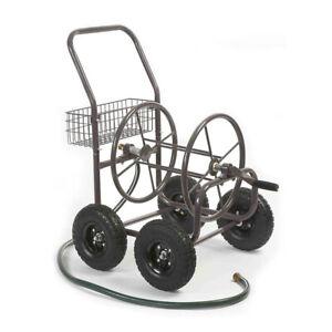 Liberty Garden 871 4 Wheel 250 Foot Steel Frame Water Hose Reel Cart with Basket