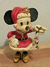 "Disney Minnie Mouse in Santa Suit 9"" Christmas Figurine w/ Pinocchio Marionette"