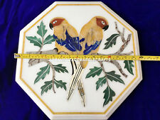 """16"""" White Marble Coffee Parrot Table Mosaic Inlay Marquetry Furniture Home Decor"""