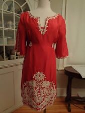 YOANA BARASCHI 100% silk red stunning embroidered party dress women's size 8