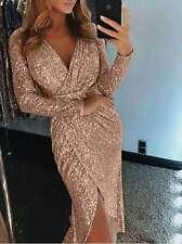 UK Women Sequin V Neck Wrap Christmas Dress Bodycon Evening Party Dress Size6-18