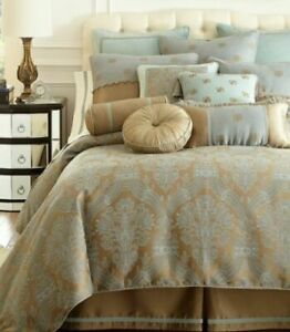 Waterford CASTLE COVE Queen Duvet Cover Blue Green