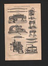 Lithografie 1896: LEDER-Fabrikation. Glätt-Stein Schuster Spalt-Walz-Maschine