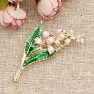 Brosche Grün Blätter Maiglöckchen Blume Emaille Geschenk Frauen Deko