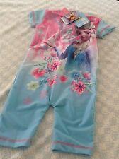 Disney Frozen Childrens UV Swimsuit Sunsuit Swim Wear Blue & Pink 18 Months