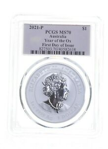 MS70 2021-P Australia 1 Dollar - Year Of Ox - First Day Of Issue - PCGS *4911