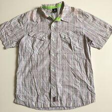 Air Jordan By Nike Mens M White Plaid Checks Short Sleeve Button Front Shirt