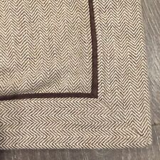 ❤️ 2 Brown Wool HERRINGBONE Tweed Houndstooth Plaid King Pillow Shams Set